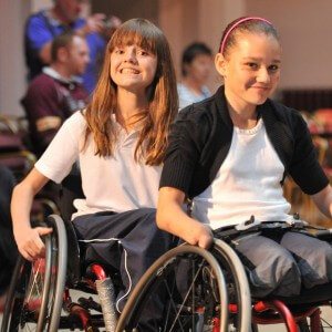 Girls preparing for wheelchair ballet